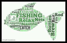 PERSONALISED FISHING FISH WORD ART PRINT DAD Present GIFT