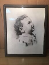Stunning Black and White Original Signed Drawing of a Child  1939