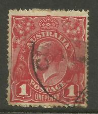 AUSTRALIA KGV KING GEORGE V One Penny Red 1d Single Watermark Used (No 71)