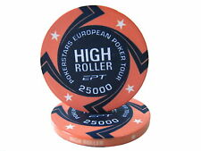 Blister da 25 fiches EPT HIGH ROLLER Replica poker Ceramica 10 gr. valore 25000
