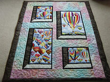"Handmade Patchwork Panel Quilted / Throw - 60"" x 50"" - Hot Air Balloon"