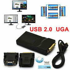 USB 2.0 UGA to DVI-I/VGA/HDMI Video Graphics Adapter for Multiple Monitors New