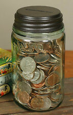 Unique Classic PINT Mason's Canning Fruit Jar Coin Bank Rustic Brown Piggy Bank
