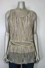 Jones New York Women's Striped Belly Band Sleeveless Tunic Beige Multi M