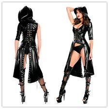 NERO PVC CORSETTO Vestito sexy giacca fetish bdsm mistress donna latex gothic
