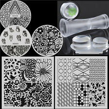 5Pcs Nail Art Stamping Image Plates + Dual-ended Clear Jelly Stamper Scraper Kit