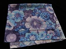 """Vintage RAYON Sewing Project Fabric Cloth Bold MOD FLOWERS 44"""" Purple Blue"""