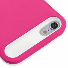 for iPod Touch 5th / 6th Gen -Hot Pink White Card Wallet Hard Rubber Hybrid Case