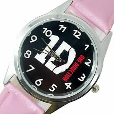1D ONE DIRECTION MUSIC POP  STAINLESS Steel PINK LEATHER BAND ROUND CD WATCH