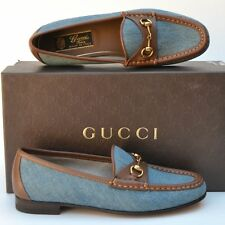GUCCI New sz 37 - 7 Designer Horsebit Womens Blue Brown Flats Loafers Shoes