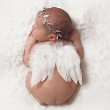 Sweet Newborn Baby Feather Angel Wing + Leaves Headband Photography Props White