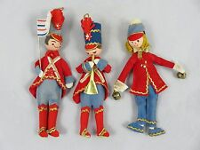 (3) Vtg Band Musician - Felt w/ Styrofoam - Christmas Figurines Dolls Ornaments