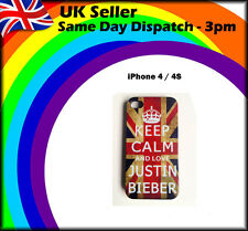 COOL DIVERTENTE KEEP CALM AND LOVE JUSTIN BIEBER PHONE Custodia COVER ADATTA IPHONE 4 / 4S