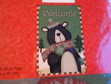 FLAGS Decorative Home Garden Lot 2 NEW Large Small Christmas Were $30 Cute Bear