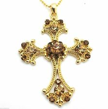 Cross Pendant Women's w Austrian Crystal Necklace Yellow Gold Plated New