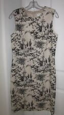 David Meister Beige Linen Black Historic Etching Scenes Pre-owned Sz6 Dress