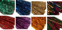 50 x GLITTER SPARKLE 30CM CRAFT TINSEL PIPE CLEANERS STEMS 6 COLOURS AVAILABLE