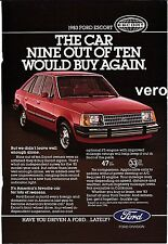 vintage FORD ESCORT 1983 print ad magazine page clipping car automobile red