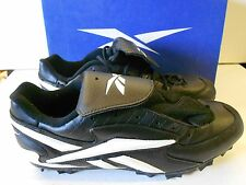 NOS Vtg Reebok Bambino Cleated Baseball Shoes Size 10 Men's blk/wht Orig Box