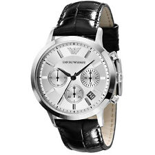 Emporio Armani Unisex AR2436 Black Leather Quartz Watch with Grey Dial