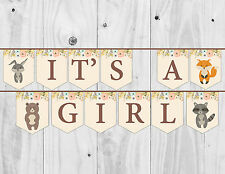 Baby Shower Bunting, It's a Girl, Decoration, Banner, Woodland.