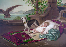 """oil painting handpainted on canvas""""a dog guarding a baby from an eagle""""N3699"""