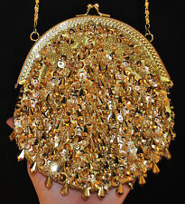VTG Gold Dangling Beaded Sequin Yellow Satin Baguette Evening Bag Clutch Purse S