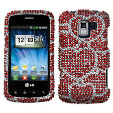 For LG Optimus Zip L75C Crystal Diamond BLING Case Phone Cover Red Hearts