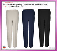 New Ladies Women Straight Leg Half Elasticated Trouser With Pockets Size 12-24