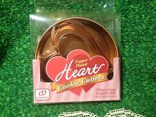 COPPER PLATED HEART COOKIE CUTTERS 3 HEAVY GAUGE SMALL MEDIUM LARGE GLOBAL DECOR