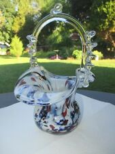 BLUE WINE MILK OPALESCENT END OF DAY MURANO ART GLASS CANDY BASKET VASE RIGAREE