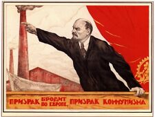 WW2 Russian Soviet Color Propaganda POSTER Vladimir Lenin Speaks to Crowd   Buy!