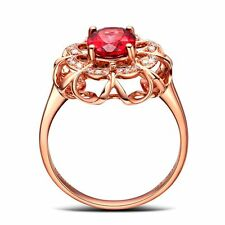 Solid Gift Golden Size 7 Good Shiny Mother Red Zircon Jewelry Ring Women