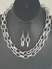 Silver Chain Style FASHION Necklace Set
