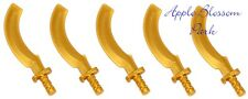 NEW Lego Lot/5 Ninjago Minifig GOLD SICKLE SWORDS - Pharoah Mummy Khopesh Weapon