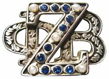 Zeta Phi Beta Heirloom Letters Pin with Sapphires and Pearls