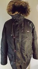 Mens Schott Extreme Cold Weather Green Padded Parka,TYPE N3-B,Fur Hood,Size M