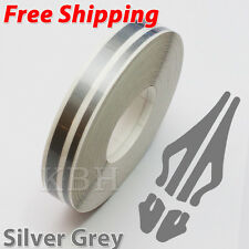 "12mm 1/2"" Double Pin Striping Stripe Vinyl Tape Decal Sticker Car Silver Grey"