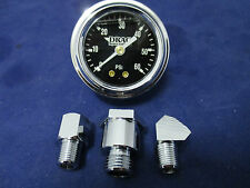 Harley Deluxe Liquid Filled Chrome 60PSI Oil Pressure Gauge To Fit 84-99 EVO'S