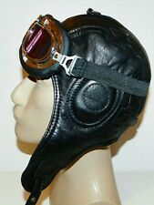 WWII Handmade Genuine Leather Aviator, Pilot,Motorcycle Helmet Hat Cap M size