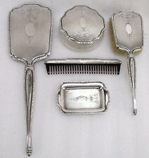 Sterling Silver 5 Piece Vanity Set International 925 Mirror Brush Comb Powder D1