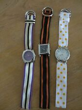 LOT OF 3 GENEVA QUARTZ WATCHES WITH FABRIC STRAP- JAPAN MOVT - FREE SHIPPING!!