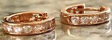 Pendientes de oro macizo 585 ruso 14ct 14k Oro Rosa Pendientes Aros