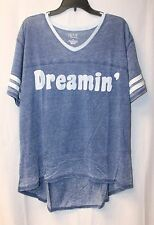 NEW WOMENS PLUS SIZE 3X BLUE & WHITE DREAMIN VARSITY STRIPED HI LOW T SHIRT TOP