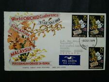Malaya Malaysia 1963 World Orchid Conference Singapore  FDC Open At Right Corner