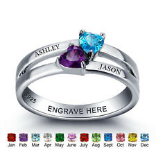 Personalised Gifts Birthstones Name Ring Silver Customized Diamond Wedding Rings