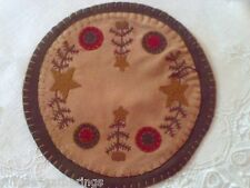 "Primitive Stitched FEATHER TREE STARS PENNY 9"" Dia Candle Mat  Grungy Christmas"