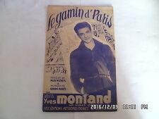 PARTITION LE GAMIN D'PARIS PAR YVES MONTAND MUSIQUE DE ADRIEN MARES    H57