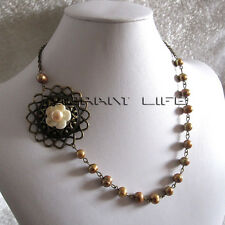 """19"""" 7-9mm Champagne Freshwater Pearl Necklace Vintage Jewelry Mother's Day Gift"""