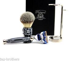 Premium Shaving Gift Set for Men(shaving brush,fusion razor,steel holder)